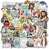50 Pcs Vinyl Jesus Stickers Waterproof Christian Sticker Pack Faith Wisdom Words Decals for Water Bottle Hydro Flask Laptop Skateboard Luggage Bike Car