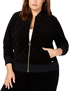 Womens Plus Velour Quilted Bomber Jacket Black 2X
