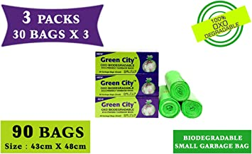 Green City- Garbage Bag | Small: 43CmX48Cm | 3 Pack of 30bags- 90Bags | 100% OXO-Biodegradable Eco-Friendly Dustbin Bags - Green
