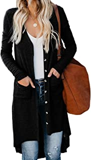 Womens Snap Button Down Open Front Long Knited Cardigan Outerwear with Pocket