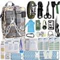 Monoki First Aid Survival Kit, 302Pcs Tactical Molle EMT IFAK Pouch Outdoor Gear EDC Emergency Survival Kits First Aid Kit Trauma Bag for Hiking Camping Hunting Car Travel or Adventures-ACU