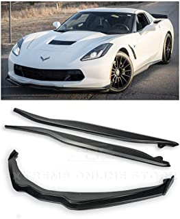 Replacement For 2014-2019 Corvette C7 ALL Models | Z06 Stage 2 Front Bumper Lip Splitter With CARBON FIBER Side End Caps & Side Skirts Rocker Panel Pair (ABS Plastic - Primer Black)