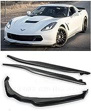 Replacement For 2014-2019 Corvette C7 ALL Models | Z06 Stage 2 Front Bumper Lip Splitter With CARBON FIBER Side End Caps & Side Skirts Rocker Panel Pair (ABS Plastic - Primer Black)