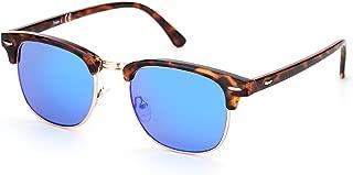 PINGLAS Classic Square Sunglasses For Women, Rivet Decor Half Frame Coating Lens, UV400