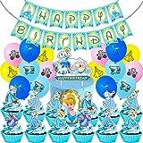 Hilloly 44 Pcs Decoración de cumpleaños,Set de decoración de Cenicienta,Decoración de fiesta de cumpleaños de niños,Contiene decoraciones para pasteles,pancartas,globos y otras decoracione