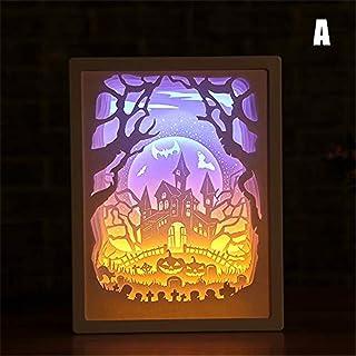 LAIYYI 1 st 3D-papper snideriljus, kreativ batteridriven papperslipad ljuslåda dekorativ humörlampa dekorativ skrivbordsla...