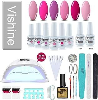 Vishine Gel Nail Polish Starter Kit, 48W LED Nail Dryer Lamp Base Top Coat 6 Pretty Colors Nail File Manicure Tools Matte Top Coat for Nail Art #04