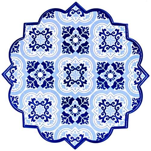 BOHORIA® Premium Design Keramik Topfuntersetzer – Dekorative Untersetzer für Vasen, Töpfe, Karaffen und Flaschen auf ihrem Esstisch aus Holz, Glas oder Stein (rund | 18cm) (Moroccan Mosaic) (Granada)