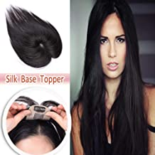 14 Inch Silk Base Clip in Hair Toppers Human Hair for Women Thin Clip on Crown Toupee Hairpieces Natural for Thinning Hair #1B Natural Black
