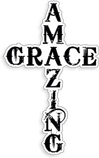 Amazing Grace Word Script Cross Sticker Handwritten Religious Car Window Glass Vinyl Decal