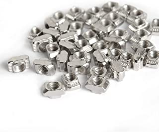 100 Pcs M5 T Nut, Drop in T Slot Nut for 2020 European Aluminum Extrusion, Carbon Steel Nickel-Plated Post Assembly Sliding T Nut 6mm Slot Aluminum Profile Accessories