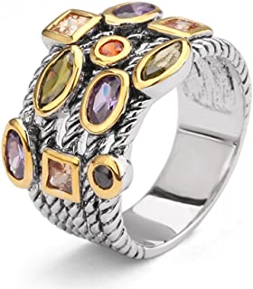 Ring Beautiful Multi CZ Twisted Cable Wire Designer Fashion Brand Vintage Love Antique Womens Jewelry (9)