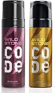 Wild Stone Code Gold and Iridium Body Perfume Combo for Men, Pack of 2 (120ml each)