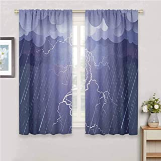 GUUVOR Night All Season Insulation Lightning Strike Thunderstorm in The Air at Dark Night Rainy Electric Force Flashes Image Noise Reduction Curtain Panel Living Room W42 x L84 Inch Blue