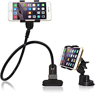 BESTEK 2-in-1 Gooseneck Flexible Cell Phone Clip Holder for Bed, Car, Desktop, with Car Vehicle Windshield Suction Cup Mount for iPhone/Samsung/GPS/Smartphone/iPad Mini