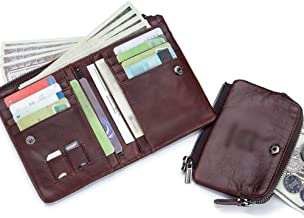 YUWEIPING Monederos Corto Billetera de Cuero Portamonedas Informal multifunción (Color : 1)
