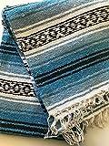 Mexitems Mexican Falsa Blanket Authentic 52' X 72' Pick Your Own Color (Light Blue/Black)
