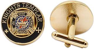 "Knights Templar Black & Gold Masonic Cufflink Set - 3/4"" Diameter"