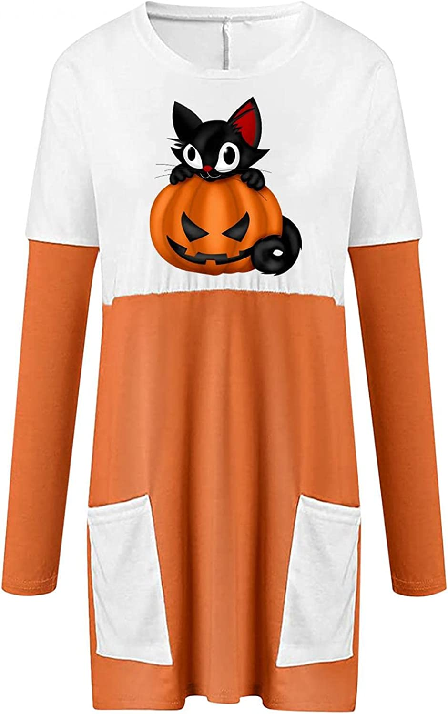 felwors Sweatshirt for Women, Womens Shirts Oversized Halloween Pumpkin Print Casual Long Sleeve Tunic Tops with Pocket