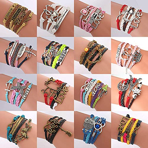 ThyWay 16pcs Handmade Braided Multi Layers Vintage Woven Rope Wrap Bangle Bracelets - Infinity Love