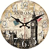 ShuaXin Kitchen Wall Clocks,16 Inch London Big Ben Design Wooden Wall Clock,British Style Retro Antique Vintage Wall Decor Clocks for Home Decoration