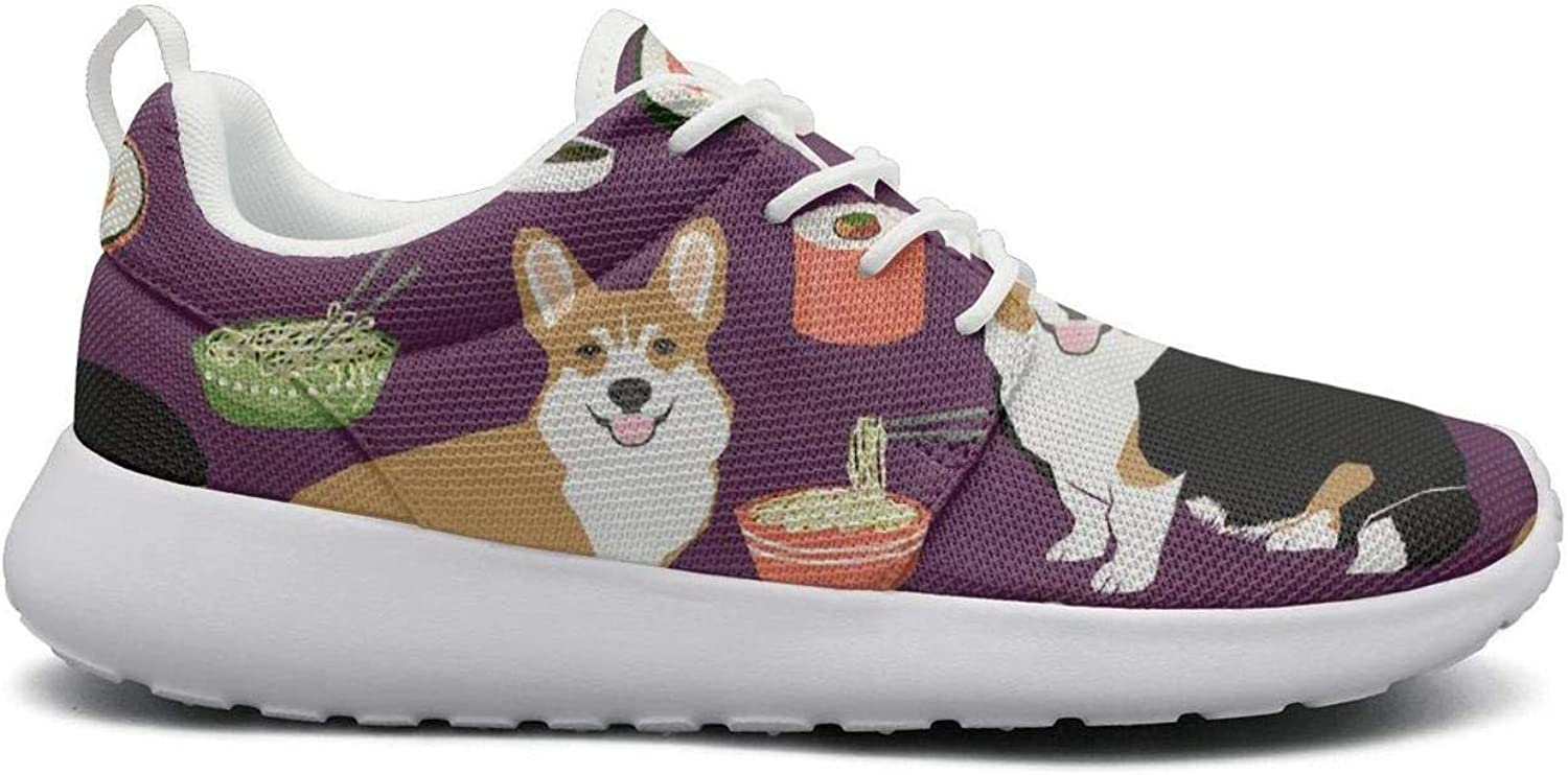 FEWW11 Women Cool Lightweight shoes Sneakers Corgis Sushi Food Gifts Canvas Upper Gym Lace-Up