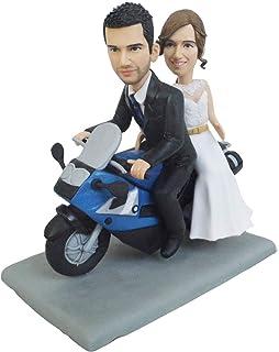 novia en motocicleta boda novio conducir moto montar figuritas mini estatua 40 aniversario