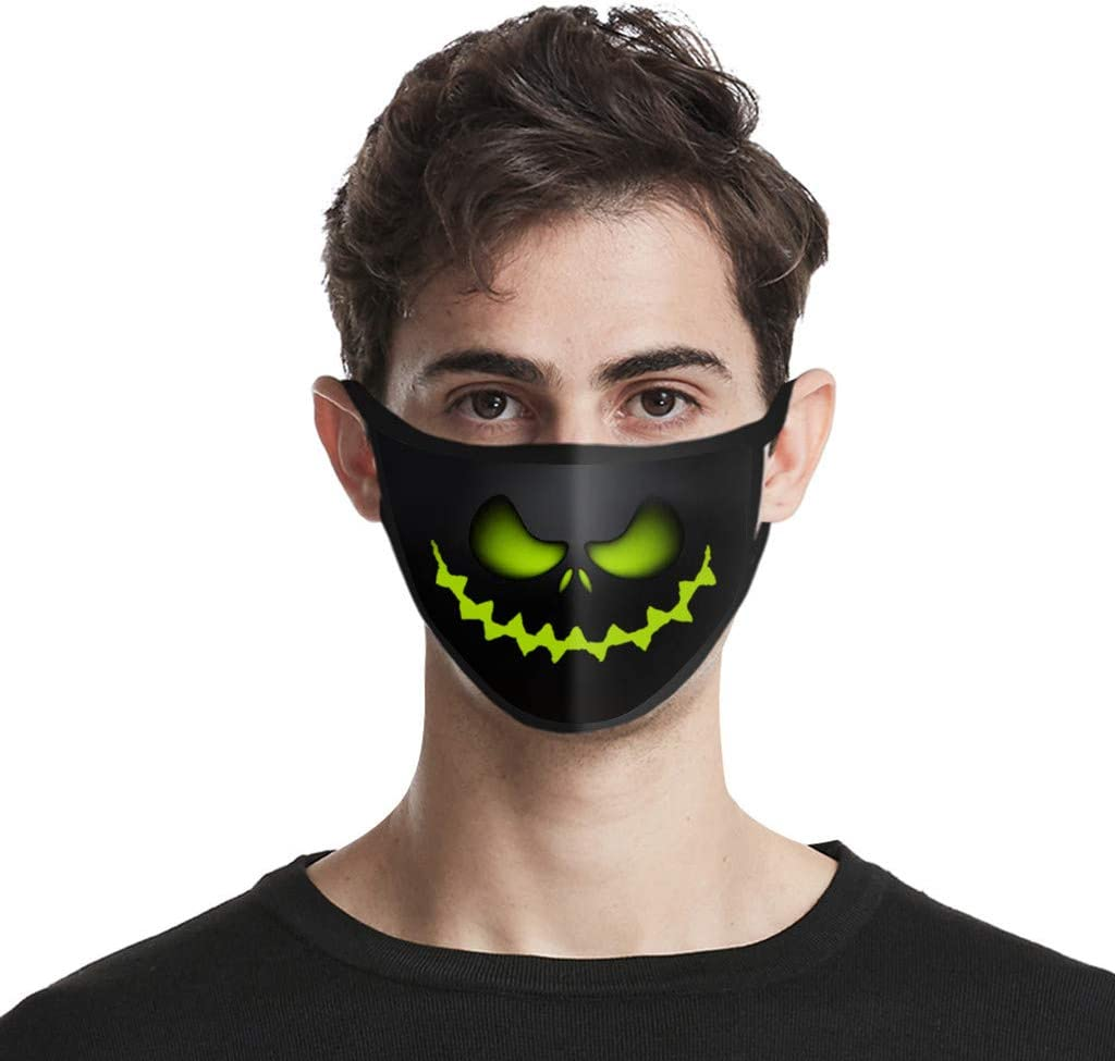 Kaideny Adults Funny Halloween Skull Pattern Reuseable Washable Breathable Adjustable Face Protective Bandanas Festival Party Outdoor