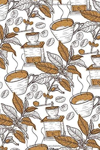 Kaffee Notizbuch mit schönem Kaffeemuster: kariert im 6x9 Format / DIN A5, im dekorativen Kaffee Design mit Kaffeetasse, Kaffeemühle, Kaffeepflanze und Kaffeebohnen