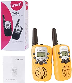 RHESHINE Kids Walkie Talkies, Walkie Talkie for Kids 2 Miles(3KM) walkie talkies Long Range 22 Channel 0.5W FRS/GMRS 2 Way Radios (8 Batteries and Charger are not Included, Yellow)
