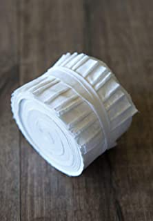 2.5 inch White on White Jelly Roll 100% Cotton Fabric Quilting Strips Only by eight24hours