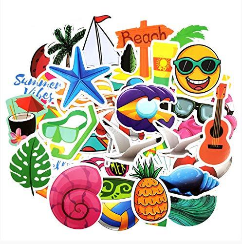 HENJIA Summer Surfing Stickers To Decor Living Room Decor Travel Beach Surf Stickers para niños Dormitorios Decoración 50 Piezas