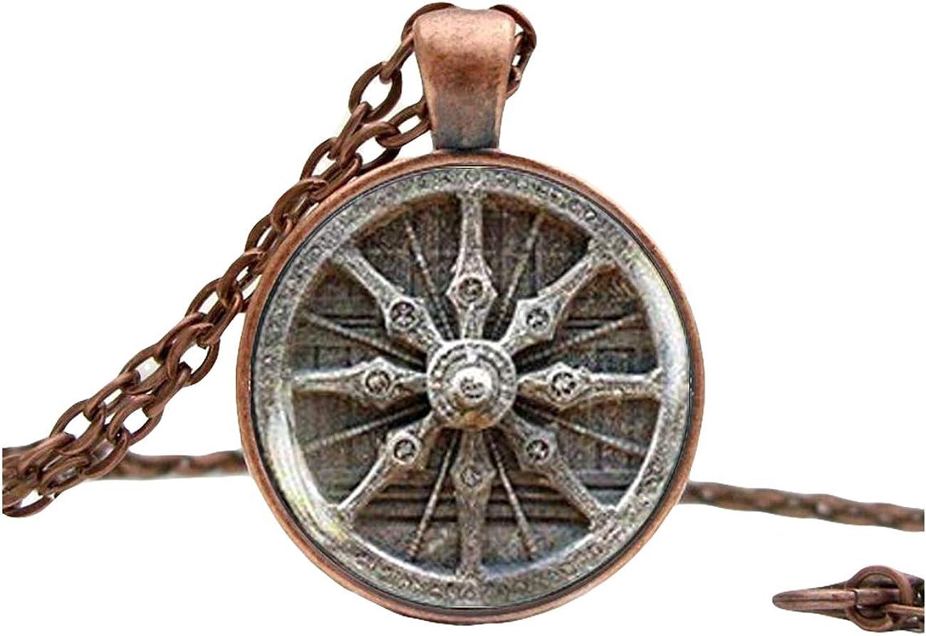 Dharma Wheel Necklace,Mandala Buddhist pendant, Sacred Geometry necklace, meditation necklace