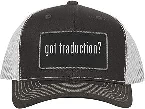 One Legging it Around got Traduction? - Leather Black Metallic Patch Engraved Trucker Hat