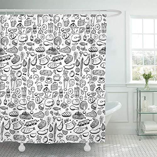 Nobranded Duschvorhang Skizze Essen & Trinken Skizze Skizze drucken Salat Duschvorhang Polyester 180 * 180cm mit Haken
