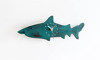 Wall clock household pendulum clocks Cute big shark wood Silent Non Ticking Battery Operated 12 Inch