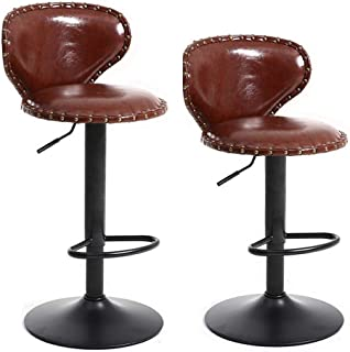 Adjustable Metal Leather Bar Stools Set of 2, Counter Height Bar Stools With Backs, Swivel Bar with Backs Stools 24 30 Inches, Pub Kitchen Counter Height, Adjustable Barstool Chairs, Retro Brown