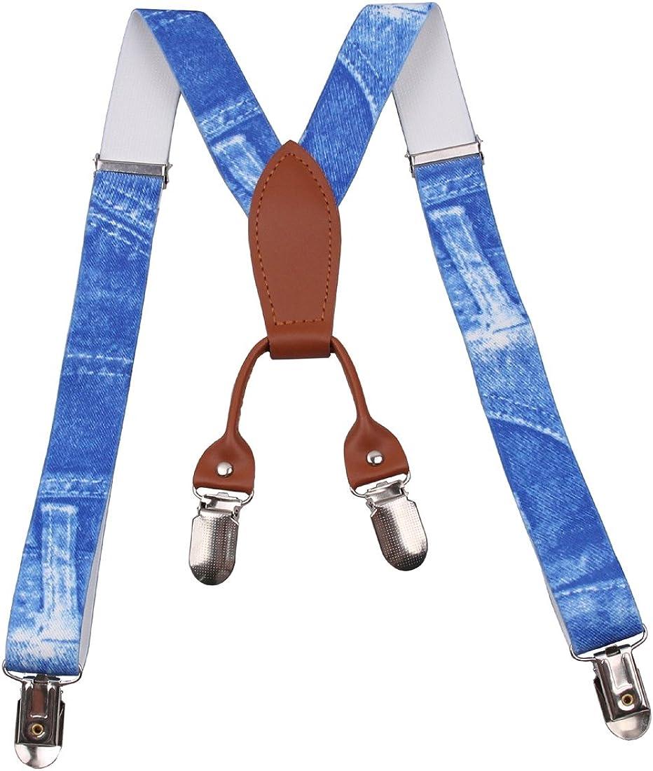 GUCHOL Suspenders for Kids Strengthen 4 Clips Adjustable Length Braces (Blue1)