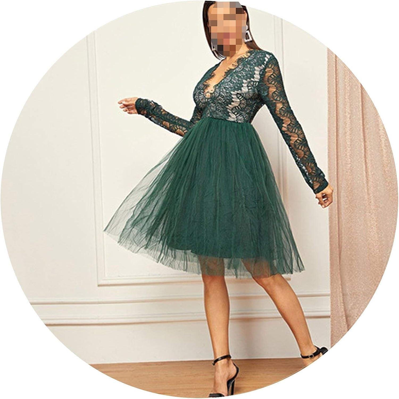 Betterluse Green Deep VNeck Lace Dress Long Sleeve High Waist Transparent Autumn Sexy Party Night Out Elegant Women Dresses
