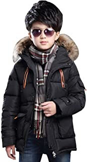 Big Boy's Winter Cotton Hooded Outwear, Parka Coat with Faux Fur Trim