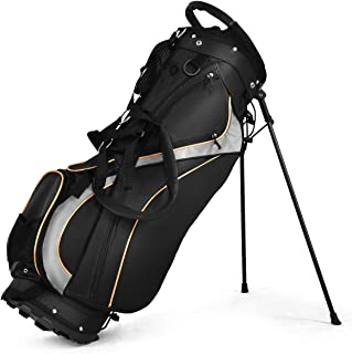 Tangkula Golf Stand Bag with 8 Way Divider, Portable Golf Bag with Waterproof Wear-Resistant Durable Fabric, Easy Carry Sp...