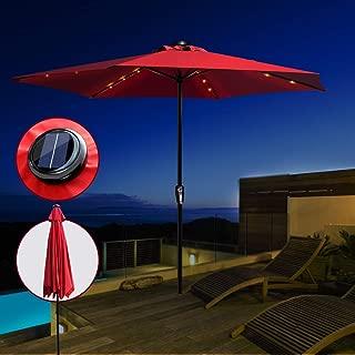 Masthome Sombrilla para Patio con Luces Solares LED,Ajuste de Inclinación,para Jardín,Terraza,300 cm