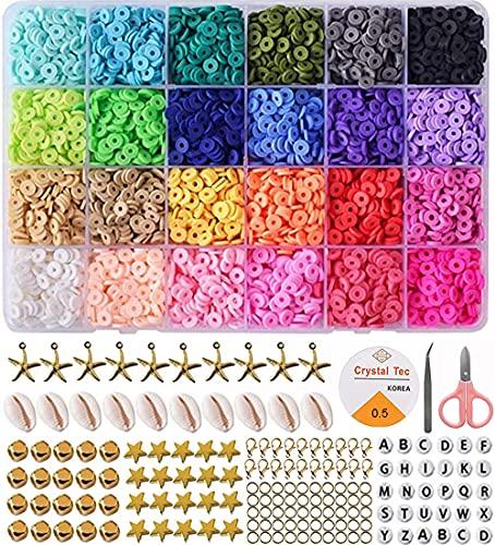 5400 perlas para bricolaje, fabricación de pulseras, basicon, perlas de arcilla polimérica, kit de perlas planas para pulseras y collares creativos