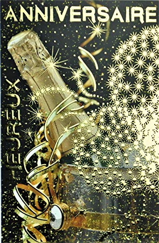 Wenskaart voor verjaardag, fles, champagne, wijn, wit, emmer, vuurwerk sterren, goudkleurig, gemaakt in Frankrijk