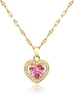 Bcrown Love Heart Pendant Necklace for Women Girls   18K Gold Plated Chain Link Crystals Birthstone CZ Jewelry for Valenti...