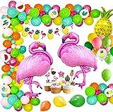 MMTX 56 pcs Décoration de Fête Hawaïenne, Tropicale Hawaï Flamingo Ananas Ballons Bannière de Guirlande pour Jungle Luau Hawai Beach Pool Thème été Anniversaire Baby Shower Party Supplies