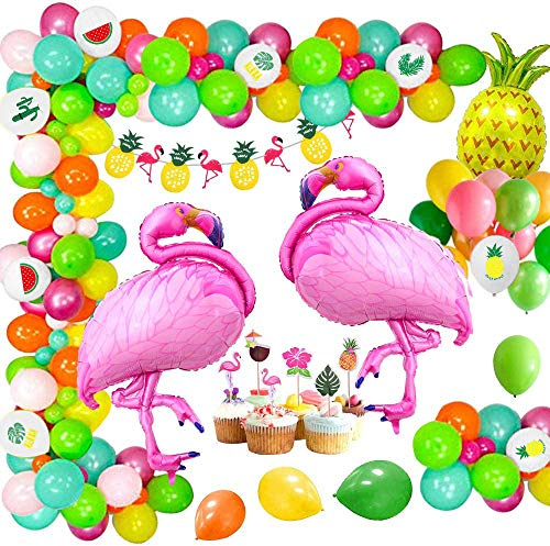 MMTX Hawaii Beach Party Dekoration, Flamingo Sommer Ananas Helium Ballon, Kranz Banner und Dschungel Luau Hawai Tropical Beach Pool Thema Foto Requisiten Sommer Geburtstag Baby Shower Supplies