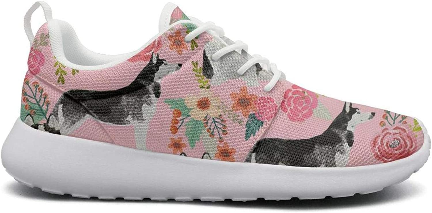Women Funny Lightweight shoes Sneakers Husky Dog Pink Floral Canvas Upper Gym Lace-Up