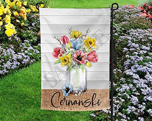 Frühlingsblumen auf Holz Gartenflagge Vorlage Frühling Garten Deko Fahne