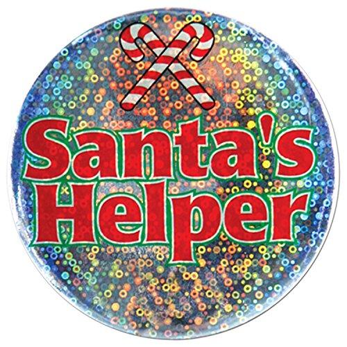 Beistle 1-Pack Santa's Helper Button, 3-1/2-Inch